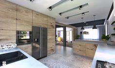 (Będzin) Projekt domu jednorodzinnego 4 - Duża otwarta kuchnia w kształcie litery g, styl nowoczesny - zdjęcie od BAGUA Pracownia Architektury Wnętrz