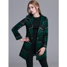 SheIn(sheinside) Dark Green Plaid Notch Lapel Double Button Coat
