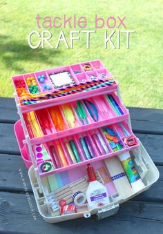 Stationary box for 7 year old girl pens stickers cards envelopes fun crafter or artist diy gift basket idea art and craft kit tackle box idea via mama papa bubba do it yourself gift baskets ideas for all occasions solutioingenieria Gallery