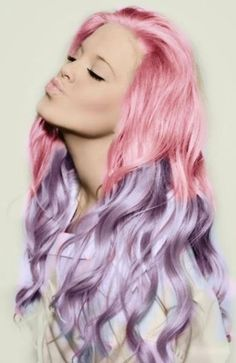 Pink n' Purple! neat but anything with colors like this i would never do. i stick to blonde and brown i just think its neat still.....again when I don't need an adult job Purple Hair, Cotton Candy, Hair Colors, Candi, Pastel Pink, Hairstyl, Hair Chalk, Pastel Hair, Dip Dye