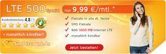 1GB LTE Allnet Flat für 9,99€ ohne Laufzeit http://www.simdealz.de/o2/simdiscount-lte-500-special/