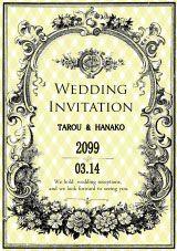 ダブルフラワーリースの結婚式無料招待状 | Mikiseabo -ミキシーボ-