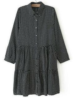 Black Lapel Long Sleeve Polka Dot Pleated Dress US$31.67