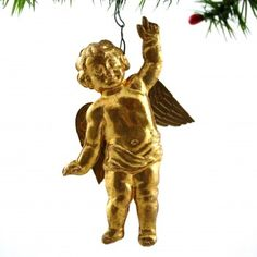 Gold Flying Angel Dresden Christmas Ornament via Betty Bell Antiques