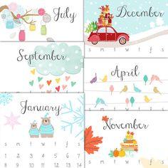 Calendario stampabile 2017 2017 parete di Anietillustration