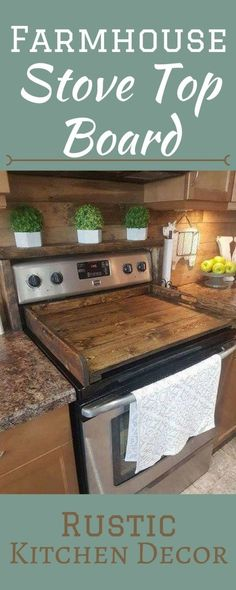 Beautiful wood stove top board. Create a clean look in your kitchen. Farmhouse decor, home decor ideas, diy, wood, rustic, kitchen, etsy, afflink by paige