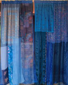 Indigo Moon Gypsy Curtains handmade by Babylon Sisters. Set includes two panels with rod pocket tops. Each panel measures about 52 wide and 84 Cheap Curtains, Drop Cloth Curtains, How To Make Curtains, Diy Curtains, Roman Curtains, Luxury Curtains, Nursery Curtains, Roman Blinds, Bathroom Curtains