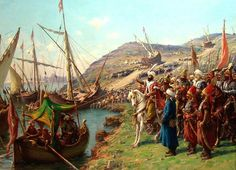 Mehmed II (or Mehmed the Conqueror) with the Ottoman Navy at the Godlen Horn, inlet of the Bosphorus in Constantinople (today's Istanbul), Turkey. Mehmed II conquered Constantinople at age 21 in the Mehmed The Conqueror, Siege Of Constantinople, Venetian Painters, Friedrich Ii, Empire Ottoman, Ottoman Turks, Les Religions, Historical Art, Wtf Fun Facts