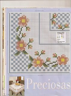 Cross Stitch Borders, Cross Stitch Flowers, Cross Stitch Charts, Cross Stitch Designs, Cross Stitch Patterns, Ribbon Embroidery, Embroidery Stitches, Chicken Scratch Embroidery, Cross Stitch Pictures