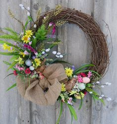New England Wreath Easter Wreath, Spring Door Decor, Woodland Wreath, Bunny, Country Cottage Wreath Diy Ostern, Spring Door, Deco Floral, Easter Wreaths, Summer Wreath, Spring Crafts, Diy Wreath, Easter Crafts, Making Ideas