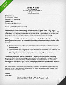 cover letter example receptionist classic - Medical Receptionist Resume