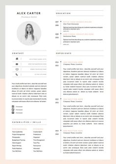 Resume With Picture Template One Page Resume Template Free Download One Page Resume Template