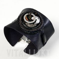 Resin, leather, steampunk, bracelet, for men