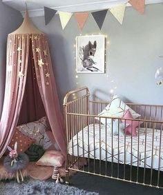 Pink and gold stars nursery