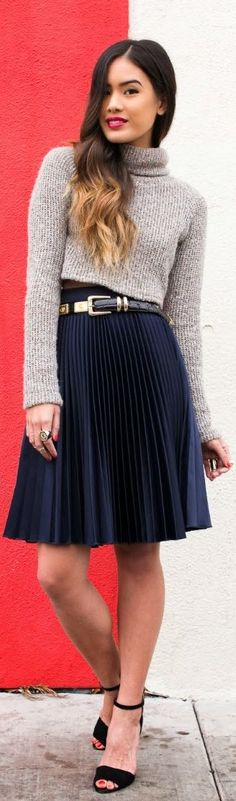Grey blouse and navy skirt