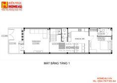 Mẫu thiết kế nhà ống đẹp 3 tầng hiện đại NO15514 - Mặt Bằng Tầng 1