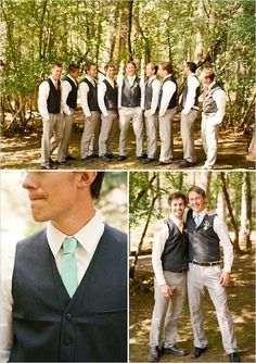Groomsmen in Dark Gray vests with Mint Green ties