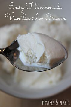 Homemade Ice Cream When it comes to frozen treats, Taylor's a purist. Try this easy recipe for homemade ice cream! No Egg Ice Cream Recipe, Ice Cream Recipes, Vanilla Ice Cream Kitchenaid, Easy Homemade Ice Cream, Homemade Vanilla, Ice Cream Desserts, Frozen Desserts, Frozen Treats, Recipes