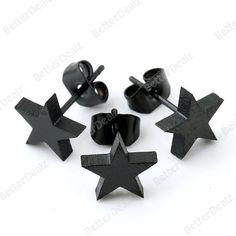 0.7mm Pin Black Stainless Steel Star Mens Earring