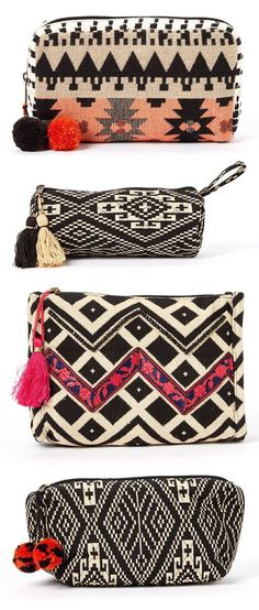 BretBoho Black & Cream Geo Cosmetic Bag