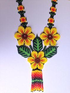 Yellow Huichol Flowers Necklace Bead Jewellery, Beaded Jewelry, Beaded Necklace, Beaded Flowers Patterns, Mexican Jewelry, Native American Beadwork, Peyote Patterns, Crochet Accessories, Bead Weaving