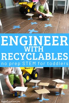 """What a fun activity you can prep in seconds for your toddler! It just took a few minutes to grab some recyclables and my toddler went to """"work"""" building his own town. Fun Activities For Toddlers, Steam Activities, Kids Fun, Toddler Preschool, Preschool Class, Toddler Crafts, Fun Learning, Nature Crafts, Early Childhood"""
