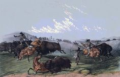 Close Quarters by Currier and Ives - TAGS: close quarters, currier and ives, buffalo, buffalo hunt, hunting buffalo, indian buffalo hunt, native american, indian, indians, native american indians, indian brave, indian warrior, indian chief, western, horses, horse back