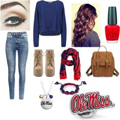 for the ole miss fans by lover-for-fashion-and-cats on Polyvore featuring polyvore fashion style Helmut Lang H&M Jeffrey Campbell Fiora OPI