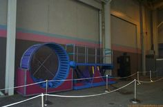 "The hamster wheel seen in ""Beat the Clock"" at the Nickelodeon Studios backlot. Universal Studios Florida, Universal Orlando, Hamster Wheel, Old Family Photos, Character Costumes, Nostalgia, Clock, Role Play Outfits, Watch"