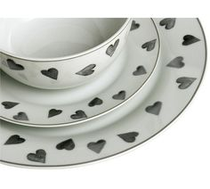 Buy HOME 12 Piece Porcelain Dinner Set - Grey Hearts at Argos.co.uk, visit Argos.co.uk to shop online for Crockery, Tableware, Cooking, dining and kitchen equipment, Home and garden