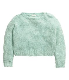 Short, chunky-knit sweater with long sleeves & a mint green mohair blend. Slightly wider neckline & decorative shoulder buttons. | H&M Pastels