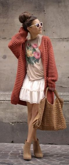 baggy sweater, floral tee, ruffled skirt & booties