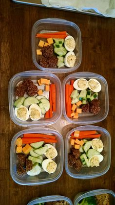 Snack packs for me: steamed carrots, cucumbers, deviled eggs, cheese, and chocolate fudge oatmeal cookies (S)  http://sherigraham.com/trim-healthy-mama-fudgy-no-bake-cookies-s
