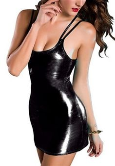 9d132b1ee4 Essential Fashion Skinny Dress ⑧ Hot Sexy Bodycon Patent Leather Braces  Clubwear ᗐ Stripper women nightwear lenceria 624 Essential Fashion Skinny  Dress ...