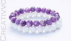 8mm Amethyst, Nacre Bracelets - Gemstone Bracelet, Womens Bracelet, Healing Bracelet, Beaded Bracelet, Gift for Women by Creativvo on Etsy