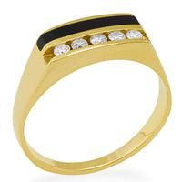 Black Coral Ring with Diamonds in 14K Yellow Gold [015-05329] $1,995.00