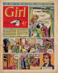 Girl comic - solid colour background, head not confined to frame of panel Children's Comics, Comics Girls, Vintage Books, Vintage Kids, Vintage Magazines, Dolls House Shop, Romance Comics, Nostalgic Images, My Past Life