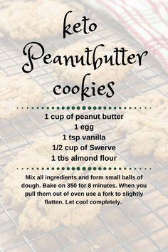 Keto Peanut Butter Cookies, Keto Cookies, Cookies Et Biscuits, Chip Cookies, Keto Biscuits, Ketogenic Recipes, Ketogenic Diet, Diet Recipes, Jello Recipes