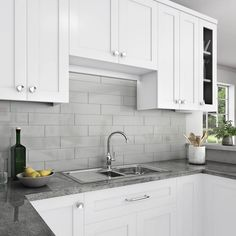 Boost up the look and beauty of your home decor with the selection of this excellent Daltile Restore Ash Gray Glazed Ceramic Wall Tile. White Cabinets White Countertops, White Kitchen Cabinets, Kitchen Redo, Kitchen Remodel, Kitchen Design, Gray Kitchen Countertops, Kitchen Renovations, Backsplash Kitchen White Cabinets, Texas Kitchen