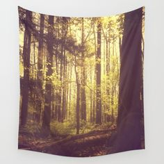 She Experienced Heaven on Earth Among the Trees Wall Tapestry, summer, tree art, nature photograph, retro vibe, good vibes, beautiful light, wall art