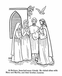 Jesus Teaches Coloring Pages - Jesus visits Mary, Martha, and Lazarus at Bethany Jesus Coloring Pages, Printable Coloring Pages, Adult Coloring Pages, Coloring Bible, Poppy Coloring Page, Raising Of Lazarus, Bible Crafts For Kids, Vbs Crafts, Jesus Cartoon