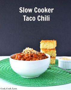 Crockpot recipes are a favorite around here and if it tastes like a taco?  Even better!  Try this amazing slow cooker taco chili recipe and kill two cravings with one bowl!  Plus you'll love how customizeable it is! http://cookcraftlove.com/slow-cooker-taco-chili/?utm_content=buffer9936f&utm_medium=social&utm_source=pinterest.com&utm_campaign=buffer#_a5y_p=4079019