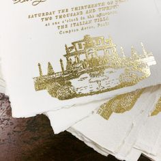 Wedding venue illustration in gold foil on handmade paper Calligraphy Wedding Place Cards, Calligraphy Save The Dates, Calligraphy Envelope, Foil Wedding Invitations, Wedding Paper, Wedding Cards, Gold Foil, Wedding Venues, Illustration