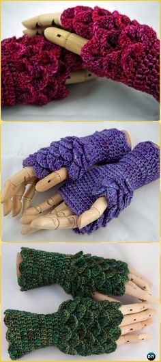 Crochet Dragonscale Gloves Paid Pattern - Crochet Dragon Scale Crocodile Stitch Gloves Patterns
