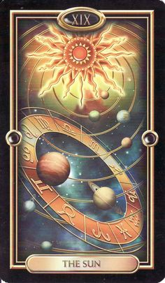 The Sun, from the Gilded Tarot by Ciro Marchetti. http://www.life-plan-blog.com/2015/01/08/todays-tarot-radiating-personal-best/