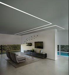 Brenta linear lighting by L&L Luce&Light Gypsum Design, Gypsum Ceiling Design, House Ceiling Design, Ceiling Design Living Room, Ceiling Light Design, Home Ceiling, House Design, Modern Ceiling Design, Led Light Design