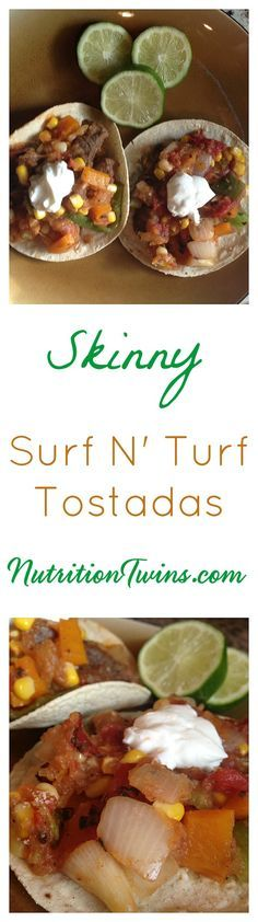 Skinny Surf N' Turf Tostadas | Only 220 Calories with 40 Grams of Protein to Keep you Super Satisfied | Great for Weight Loss | For MORE RECIPES, fitness & nutrition tips please SIGN UP for our FREE NEWSLETTER www.NutritionTwins.com
