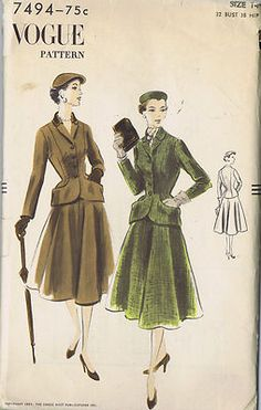 Vogue Pattern  Pattern Number 7494  Copyright: 1951    Vintage 50's Two Piece Suit Pattern    Fitted Jacket pattern with shaped side-front seams concealing pockets.  Buttoned front closing below revers.  Separate shaped collar.  Long fitted sleeves.  Four piece flared Skirt pattern.