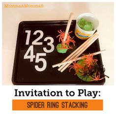 Halloween tot school spider stacking | Invitation to Play School Themes, Classroom Themes, Five Little Pumpkins, Unit Plan, Community Helpers, Tot School, Spiders, September, The Unit