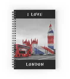 Big Ben and Union Jack - Notebook #notepad #notebook #stationery #paper #pad #jotter #student #London #LoveLondon #BigBen #UnionJack #Flag #England #British #RedBus #Westminster
